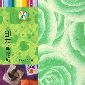 Patterns Shoyu Paper - green Flower, 6 inch (15 cm) square, 15 sheets, (YHZ072)